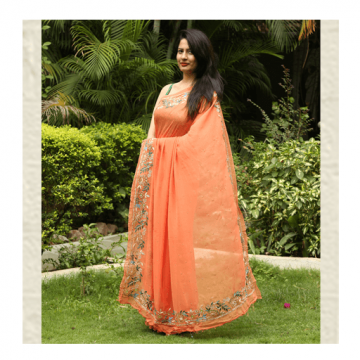 Carrot Orange Saree