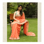 Carrot Orange Saree by ThaanIndia