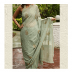 English Green Saree by ThaanIndia