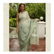 English Green Saree by ThaanIndia in Amravati