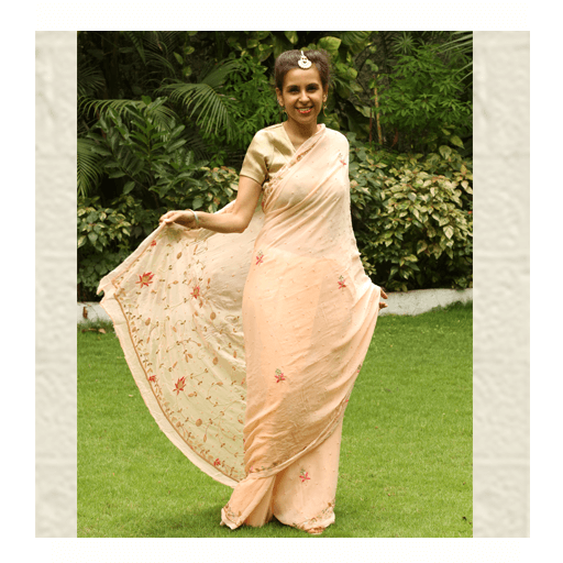 Peach Pale Saree by ThaanIndia