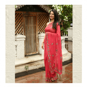 Rose Red Saree