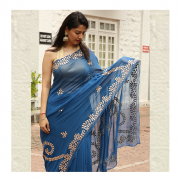 Royal Blue Saree in amravati by ThaanIndia