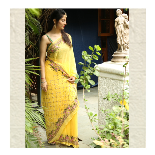 Sparkling Yellow Saree by thaanindia