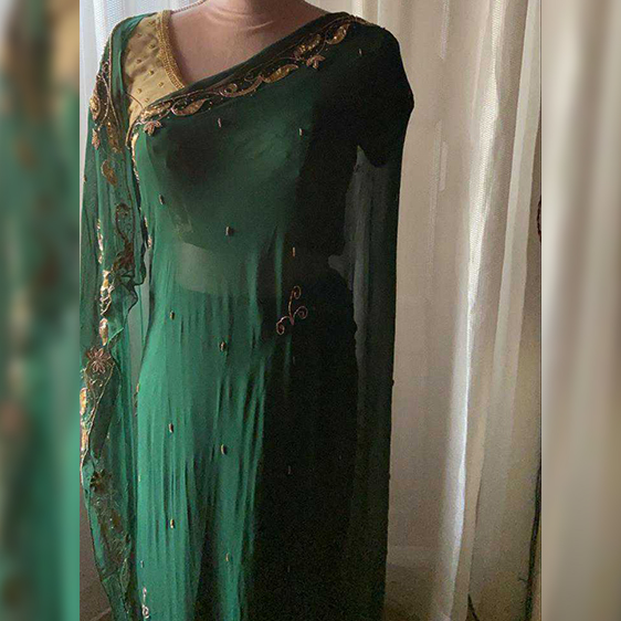 Bottle Green saree