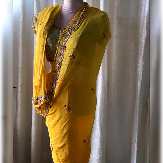 Vintage yellow saree